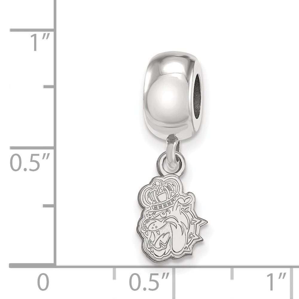 Alternate view of the Sterling Silver James Madison University XS Dangle Bead Charm by The Black Bow Jewelry Co.