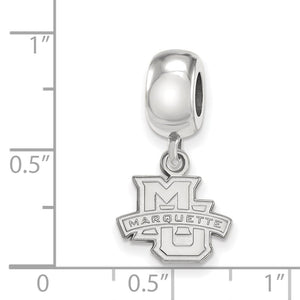Alternate view of the NCAA Sterling Silver Marquette University XS 'MU' Dangle Bead Charm by The Black Bow Jewelry Co.