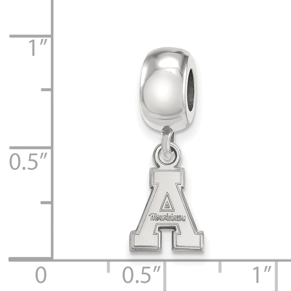 Alternate view of the NCAA Sterling Silver Appalachian State Univ. XS 'A' Dangle Bead Charm by The Black Bow Jewelry Co.