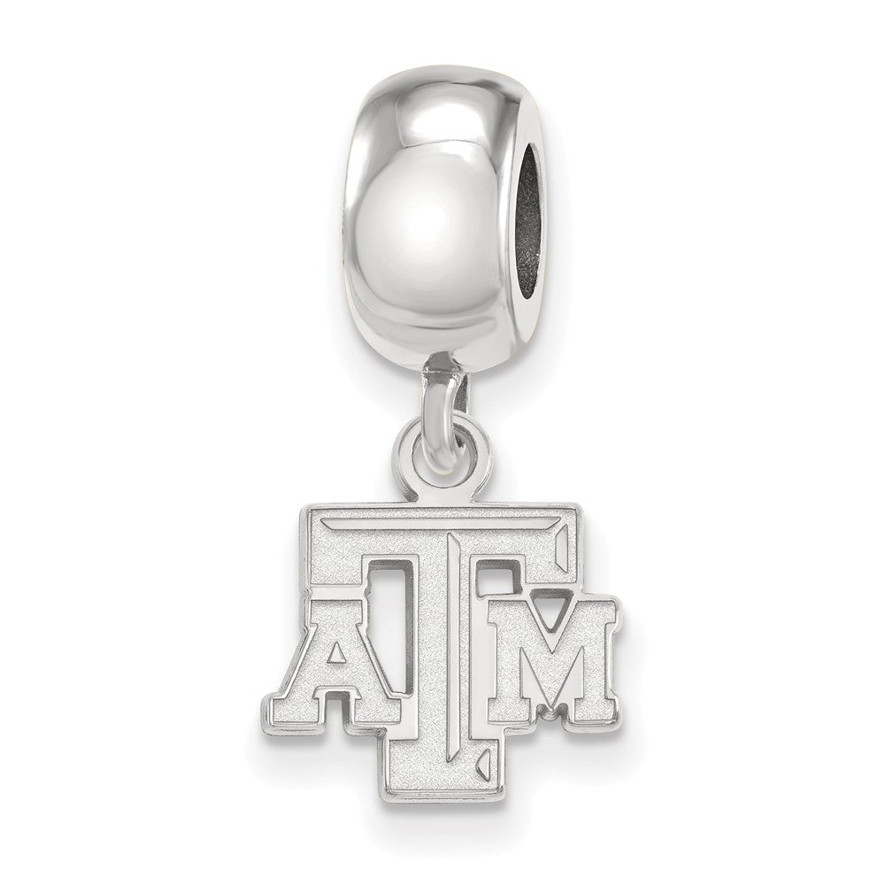 NCAA Sterling Silver Texas A&M University XS 'TAM' Dangle Bead Charm, Item B14134 by The Black Bow Jewelry Co.