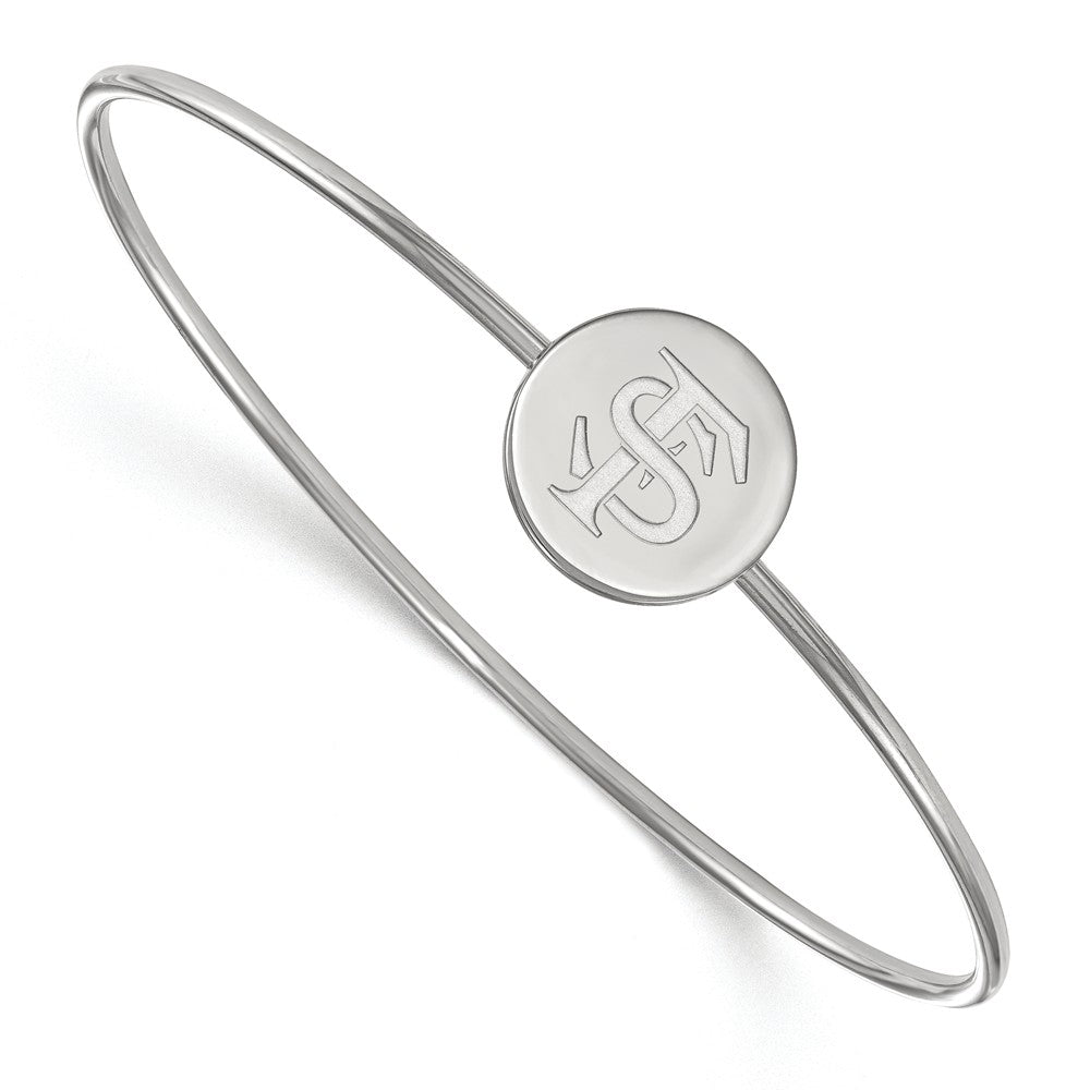 NCAA Sterling Silver Florida State University Logo Bangle, 6 Inch, Item B14226 by The Black Bow Jewelry Co.