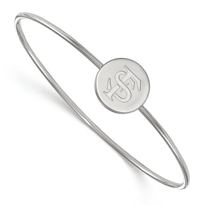 NCAA Sterling Silver Florida State University Logo Bangle, 6 Inch - The Black Bow Jewelry Co.