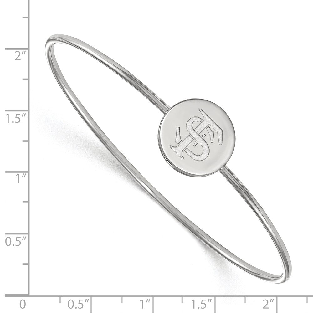 Alternate view of the NCAA Sterling Silver Florida State University Logo Bangle, 6 Inch by The Black Bow Jewelry Co.