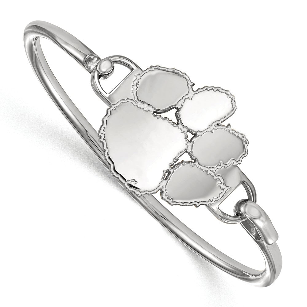 NCAA Sterling Silver Clemson University Lg Tiger Paw Bangle, 6 Inch, Item B14319 by The Black Bow Jewelry Co.