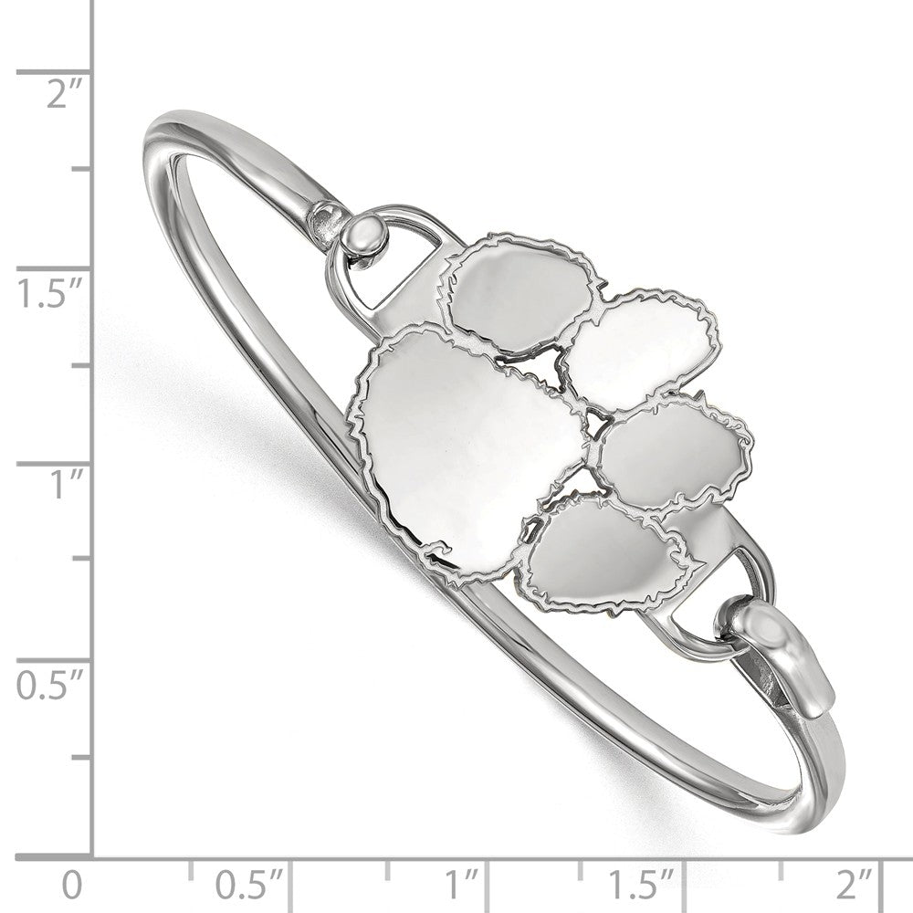 Alternate view of the NCAA Sterling Silver Clemson University Lg Tiger Paw Bangle, 6 Inch by The Black Bow Jewelry Co.