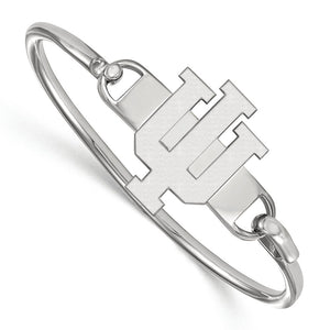 NCAA Sterling Silver Indiana University Lg 'IU' Bangle, 6 Inch - The Black Bow Jewelry Co.