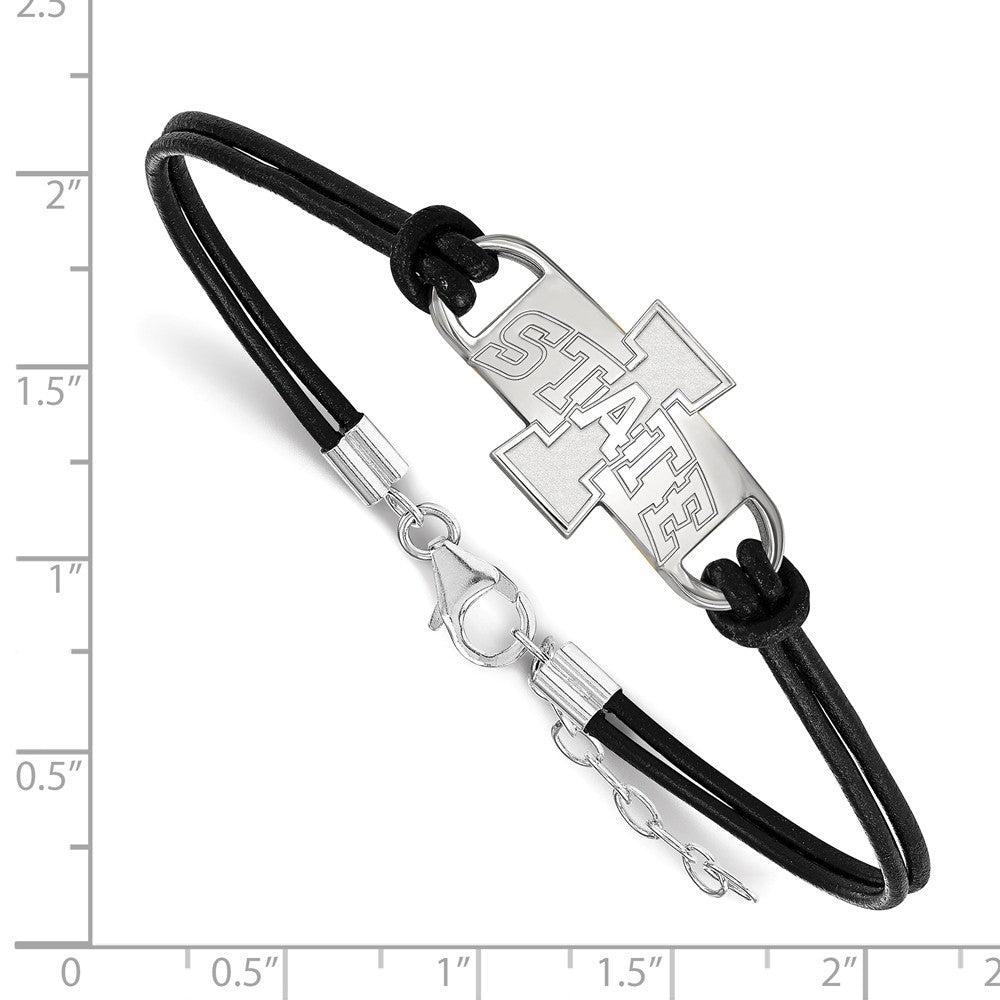 Alternate view of the NCAA Sterling Silver Iowa State University Sm Leather Bracelet, 7 Inch by The Black Bow Jewelry Co.