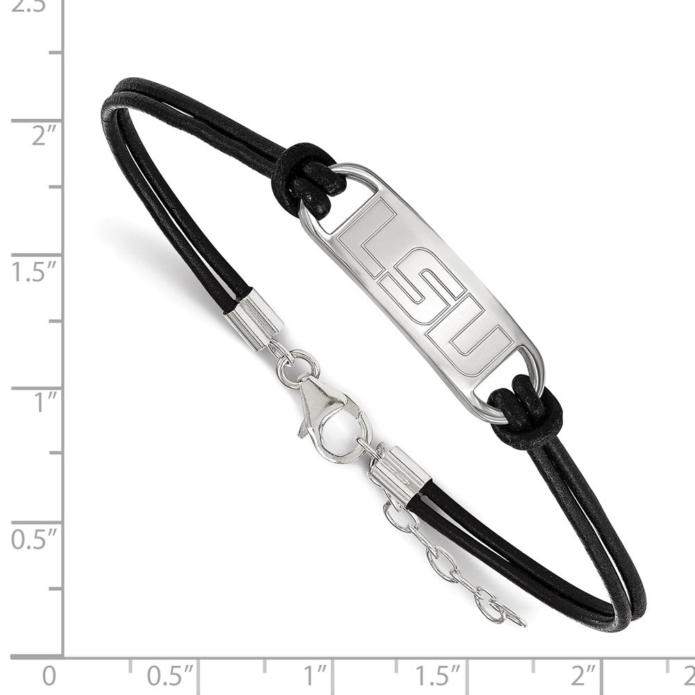 Alternate view of the Sterling Silver Louisiana State U. Sm Leather Bracelet, 7 Inch by The Black Bow Jewelry Co.
