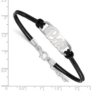Alternate view of the NCAA Sterling Silver U. of Pittsburgh Sm Leather Bracelet, 7 Inch by The Black Bow Jewelry Co.