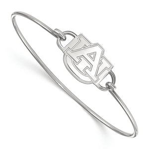 NCAA Sterling Silver Auburn University Small Bangle, 7 Inch - The Black Bow Jewelry Co.