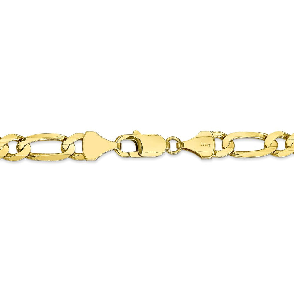 Alternate view of the Men's 10k Yellow Gold 7.5mm Solid Concave Figaro Chain Bracelet, 9 In. by The Black Bow Jewelry Co.