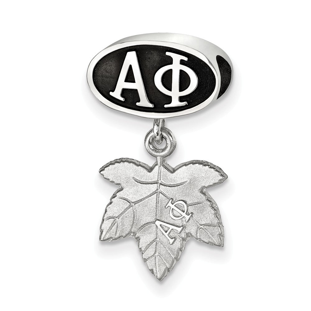 Sterling Silver Alpha Phi With Ivy Leaf Dangle Bead Charm, Item B14747 by The Black Bow Jewelry Co.