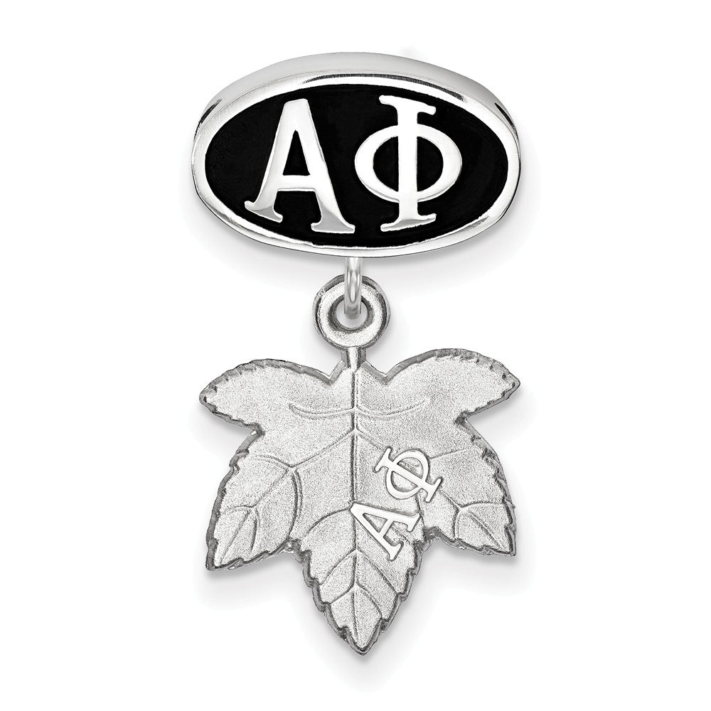 Alternate view of the Sterling Silver Alpha Phi With Ivy Leaf Dangle Bead Charm by The Black Bow Jewelry Co.