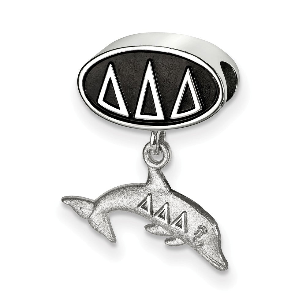 Sterling Silver Delta Delta Delta Dolphin Dangle Bead Charm, Item B14749 by The Black Bow Jewelry Co.