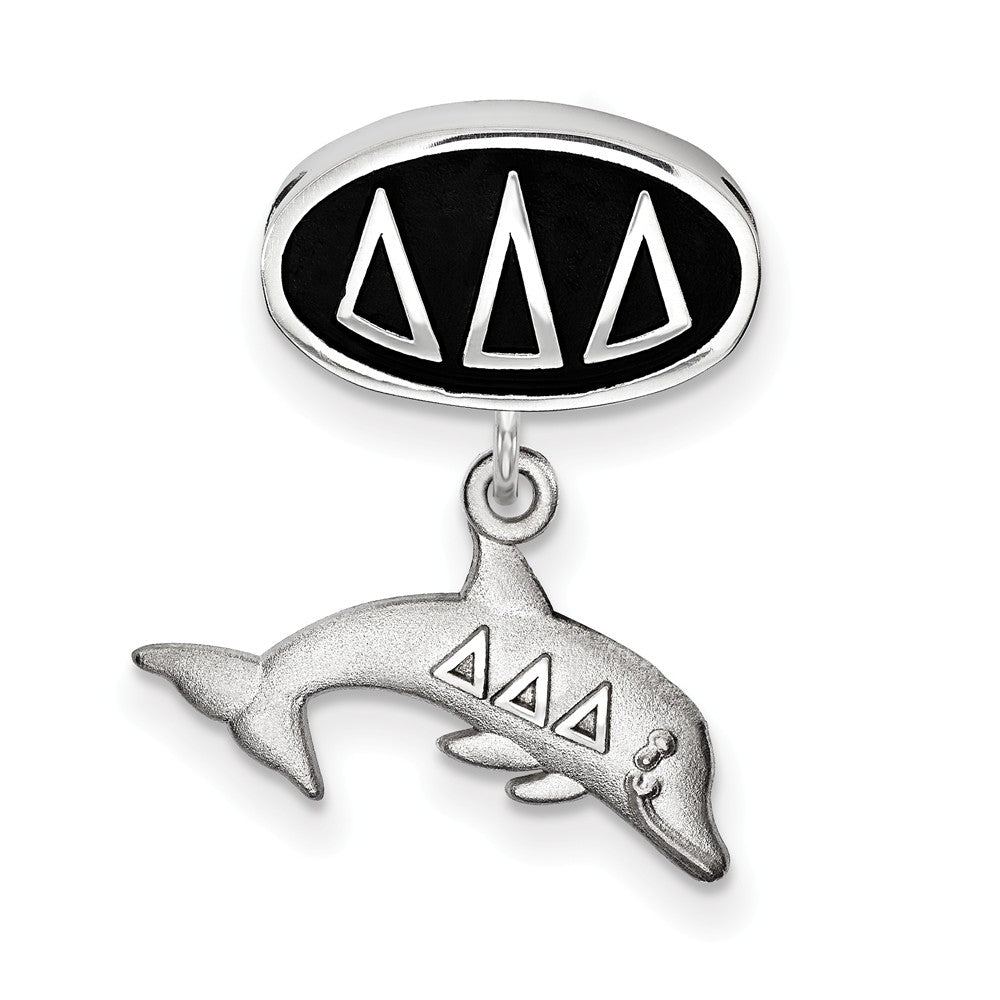 Alternate view of the Sterling Silver Delta Delta Delta Dolphin Dangle Bead Charm by The Black Bow Jewelry Co.