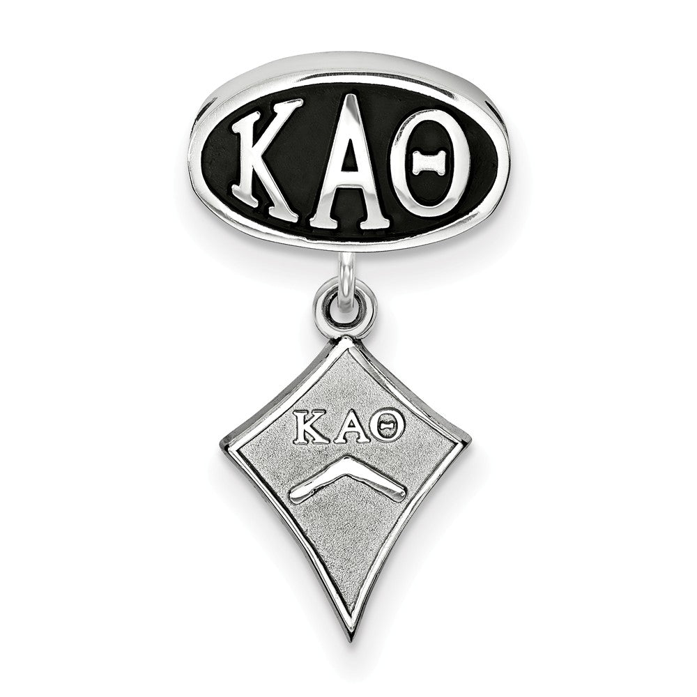 Alternate view of the Sterling Silver Kappa Alpha Theta with Kite Dangle Bead Charm by The Black Bow Jewelry Co.