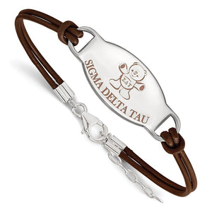 Sterling Silver Sigma Delta Tau Enamel Brown Leather Bracelet - 7 in. - The Black Bow Jewelry Co.