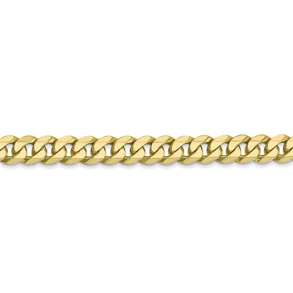 Alternate view of the 5.75mm 10k Yellow Gold Flat Beveled Curb Chain Bracelet by The Black Bow Jewelry Co.