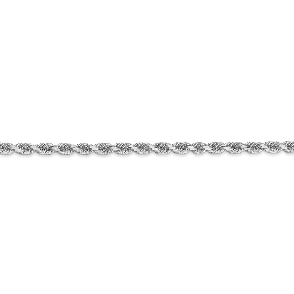 Alternate view of the 3mm 14k White Gold Solid Diamond Cut Rope Chain Bracelet by The Black Bow Jewelry Co.