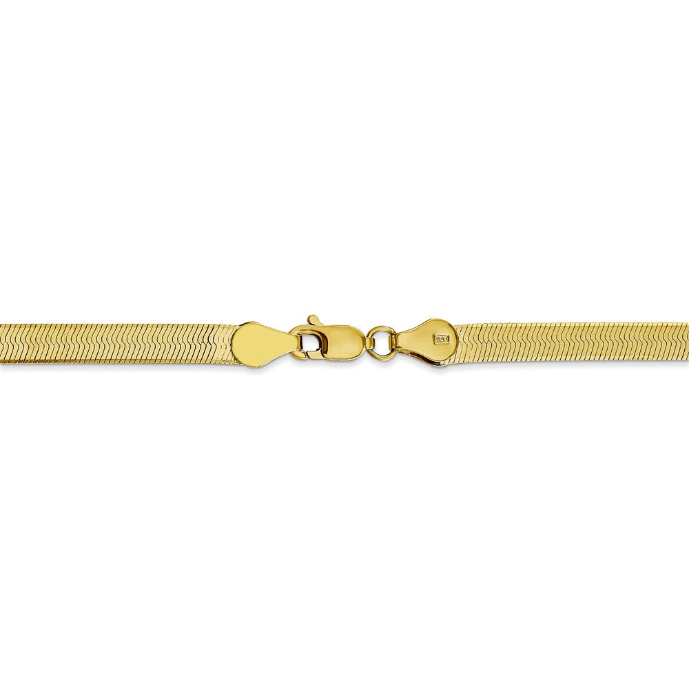 Alternate view of the 4mm 10k Yellow Gold Solid Herringbone Chain Bracelet by The Black Bow Jewelry Co.