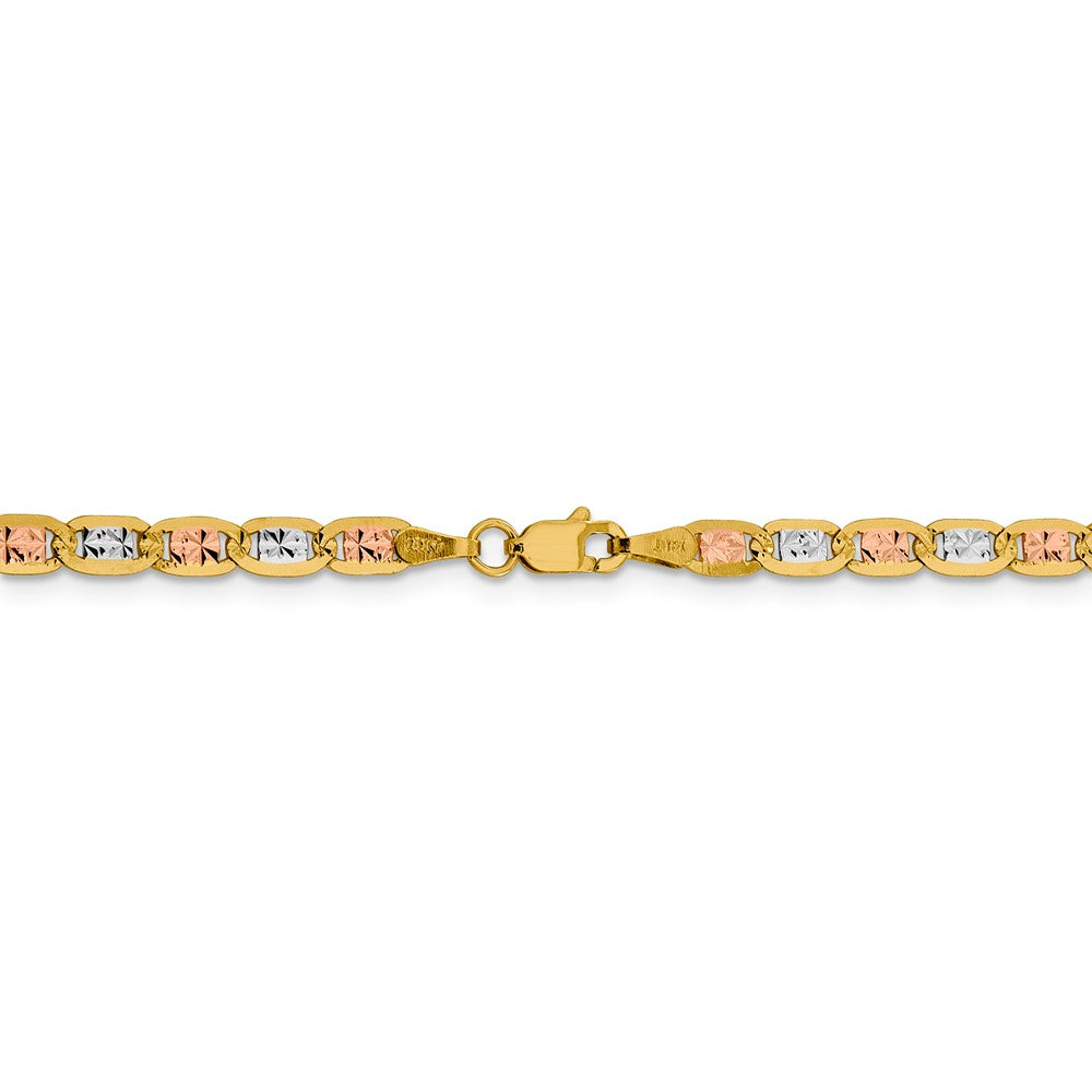 Alternate view of the 3.75mm 14k Gold Tri-Color Solid Pave Valentino Chain Bracelet by The Black Bow Jewelry Co.