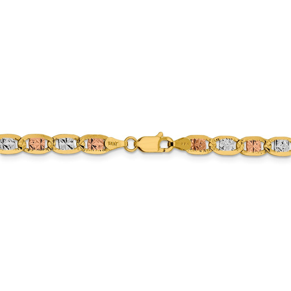 Alternate view of the 4.75mm 14k Gold Tri-Color Solid Pave Valentino Chain Bracelet by The Black Bow Jewelry Co.