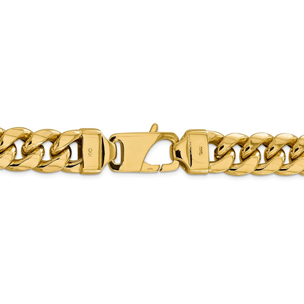 Alternate view of the Men's 15mm 14k Yellow Gold Hollow Miami Cuban (Curb) Chain Bracelet by The Black Bow Jewelry Co.