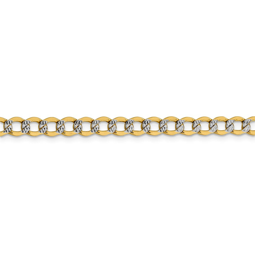 Alternate view of the 5.25mm 14k Yellow Gold & Rhodium Hollow Pave Curb Chain Bracelet by The Black Bow Jewelry Co.