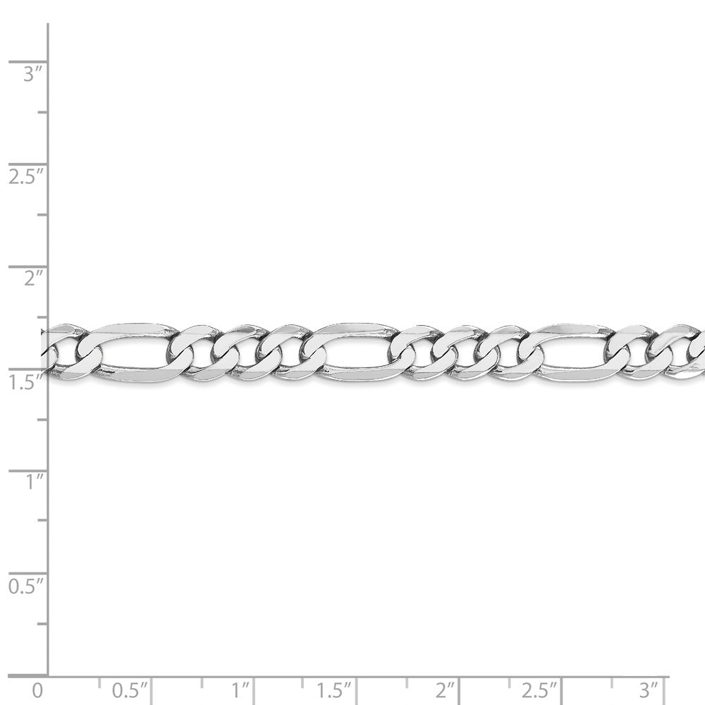 Alternate view of the Men's 7mm 14k White Gold Solid Flat Figaro Chain Bracelet, 8 Inch by The Black Bow Jewelry Co.