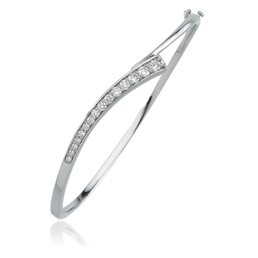 14k White Gold Journey Diamond Hinged Bangle Bracelet (3/4 Ctw), Item B8018-14KW by The Black Bow Jewelry Co.