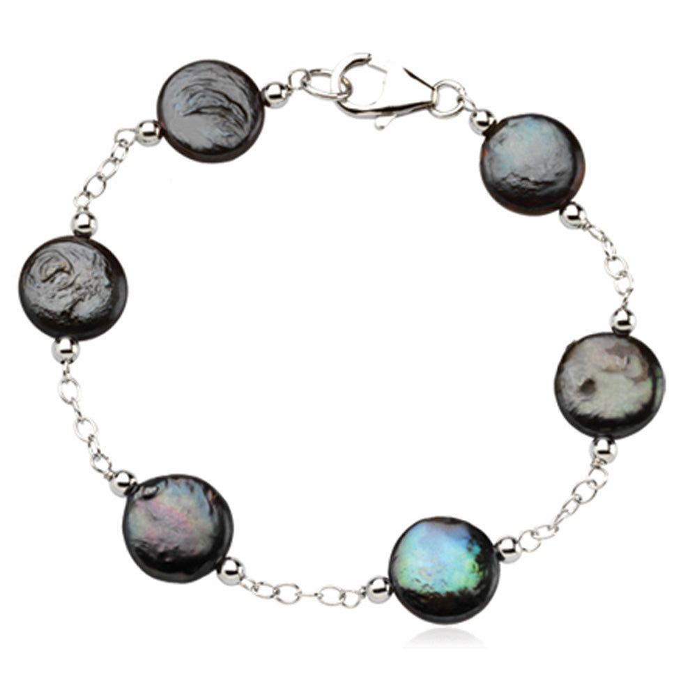 Black FW Cultured Black Coin Pearl & Sterling Silver 7.5 Inch Bracelet, Item B8084 by The Black Bow Jewelry Co.