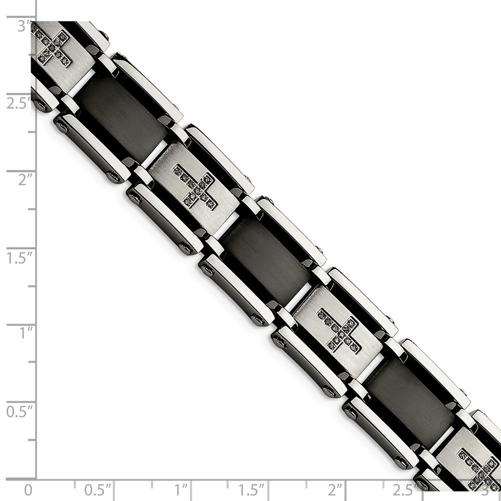 Alternate view of the Men's Stainless Steel, Black Link & Diamond Cross Bracelet, 8.75 Inch by The Black Bow Jewelry Co.