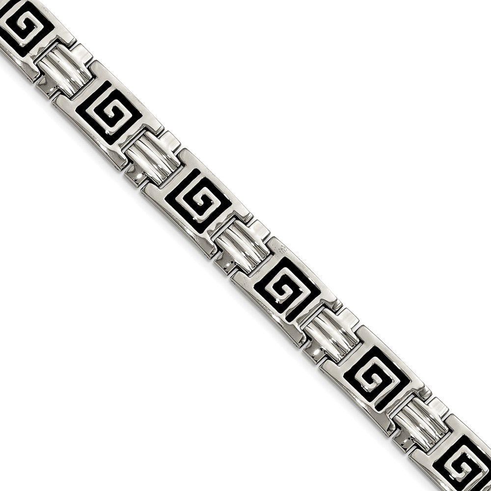Men's Stainless Steel Black Enamel Pathfinder Link Bracelet, 9 Inch, Item B8210 by The Black Bow Jewelry Co.