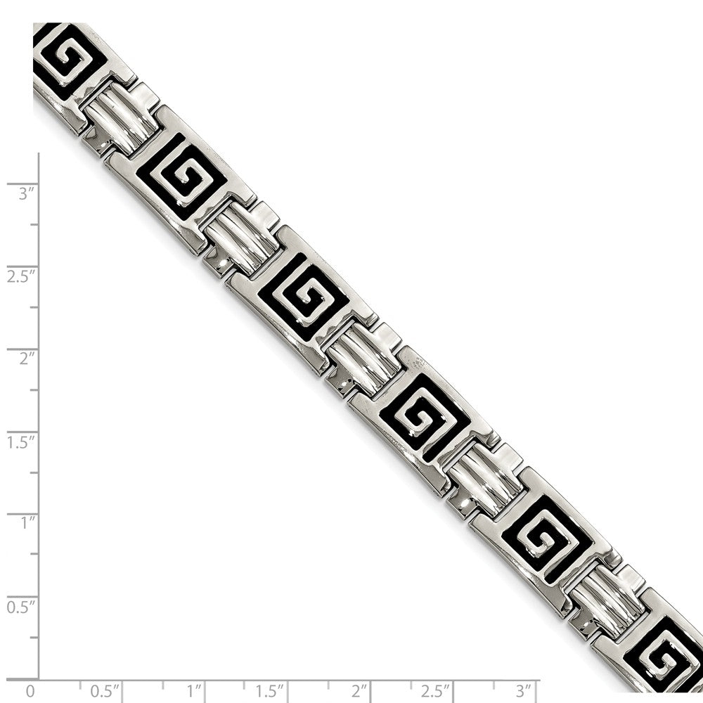 Alternate view of the Men's Stainless Steel Black Enamel Pathfinder Link Bracelet, 9 Inch by The Black Bow Jewelry Co.
