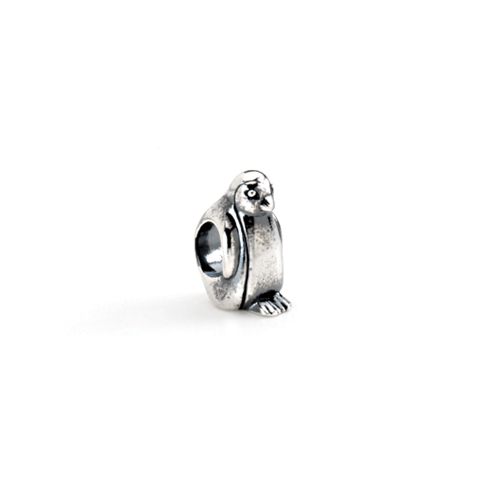Sterling Silver Penguin Bead Charm, Item B8462 by The Black Bow Jewelry Co.