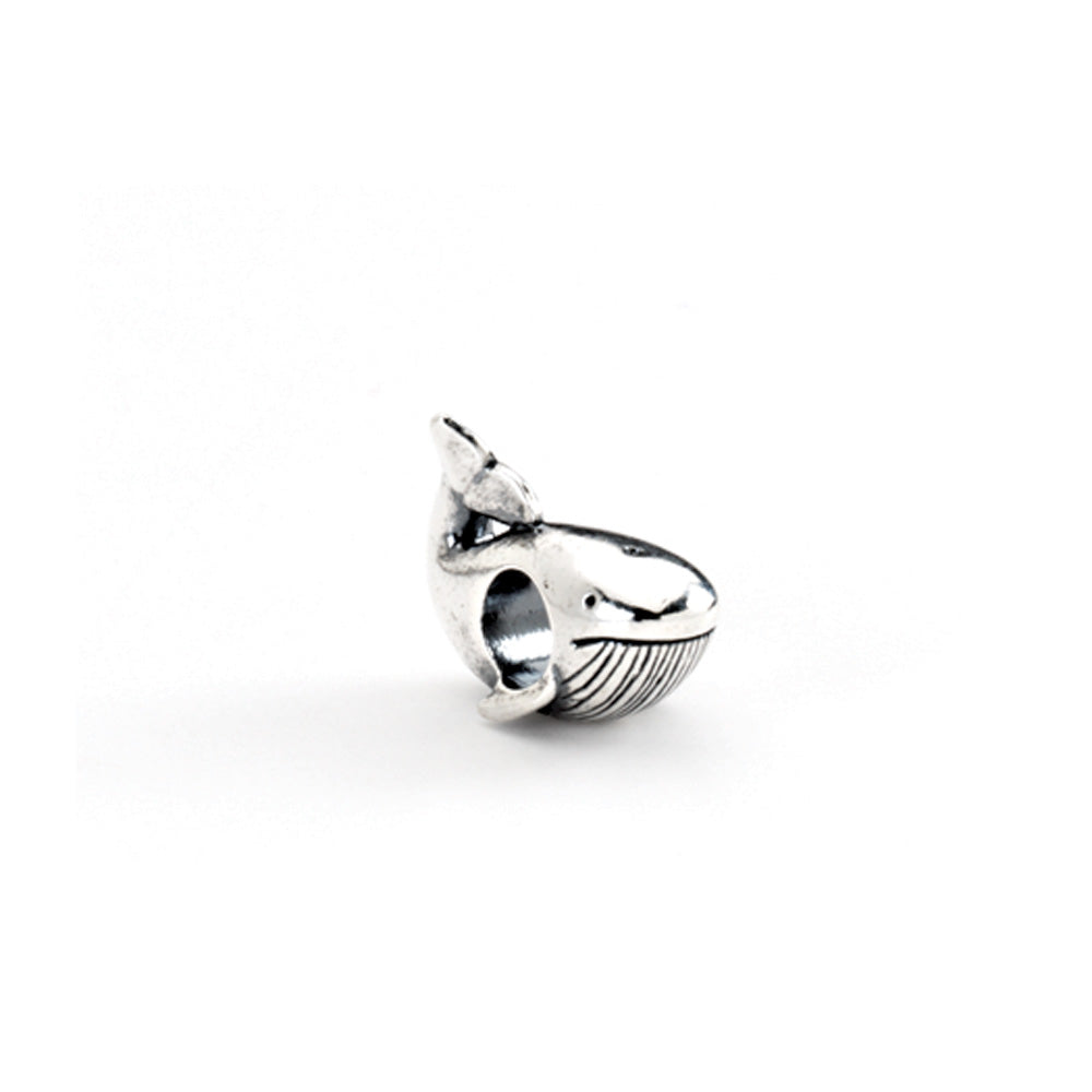 Sterling Silver Whale Bead Charm, Item B8471 by The Black Bow Jewelry Co.