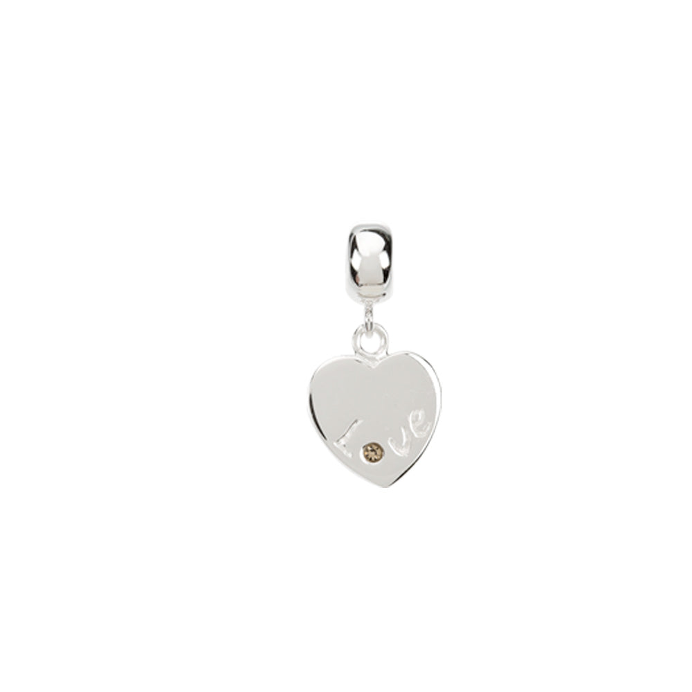 Sterling Silver and Crystal Dangling Heart Bead Charm, Item B8516 by The Black Bow Jewelry Co.