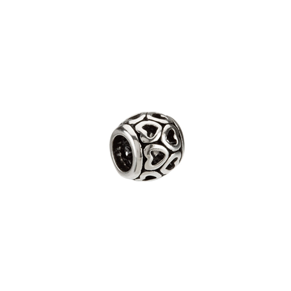 Sterling Silver Heart Spacer Bead Charm, Item B8576 by The Black Bow Jewelry Co.