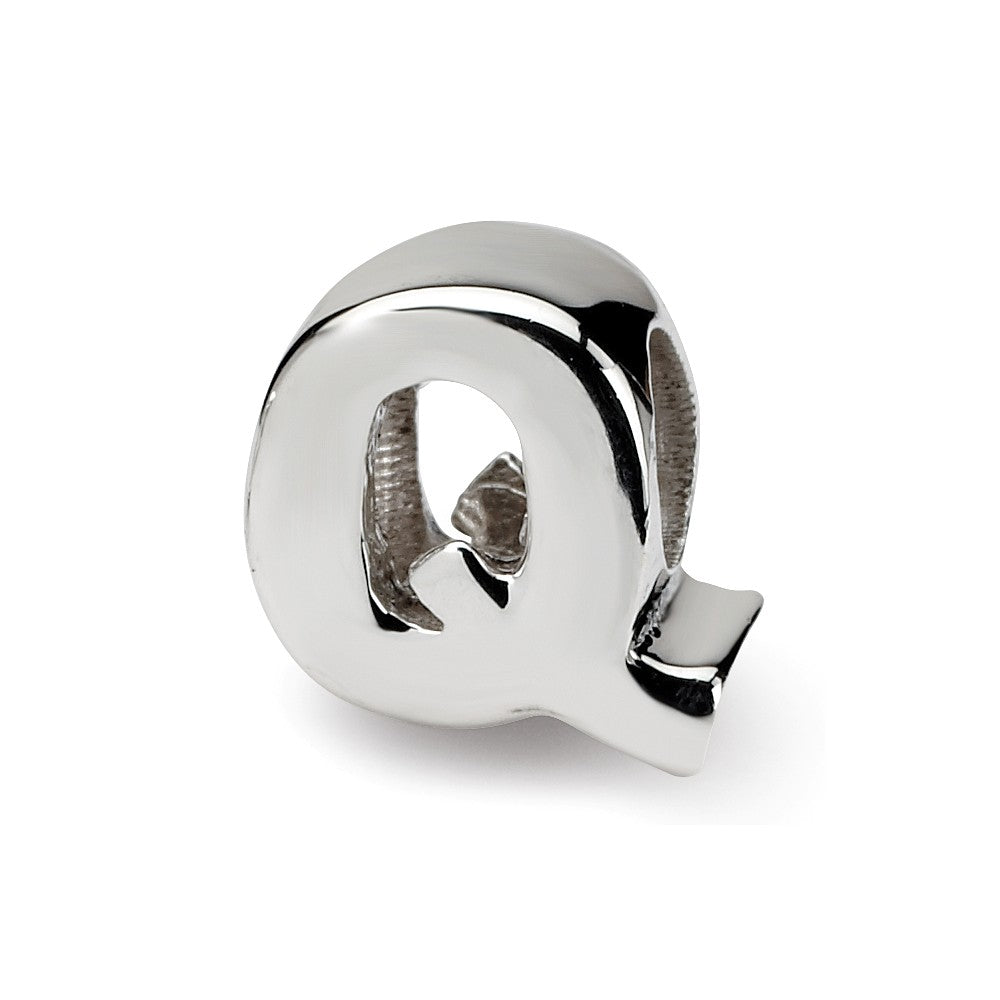 Sterling Silver Letter Q Polished Bead Charm, 10mm, Item B8676 by The Black Bow Jewelry Co.