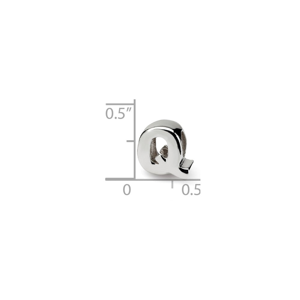 Alternate view of the Sterling Silver Letter Q Polished Bead Charm, 10mm by The Black Bow Jewelry Co.