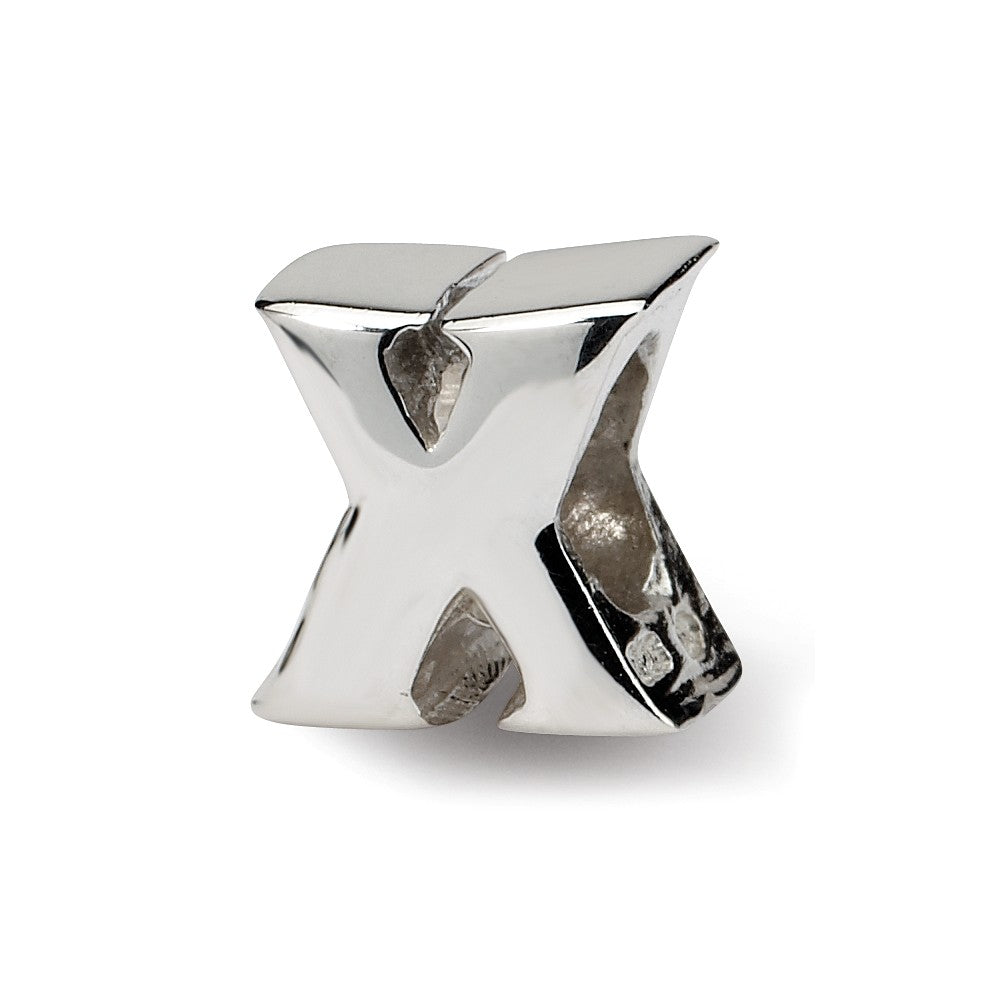Sterling Silver Letter X Polished Bead Charm, 10mm, Item B8683 by The Black Bow Jewelry Co.