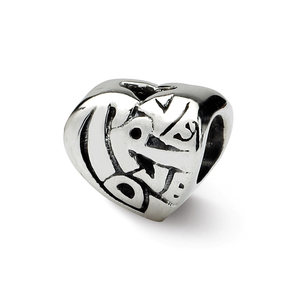 True Love Heart Charm in Silver for 3mm Bead Bracelets, Item B8694 by The Black Bow Jewelry Co.