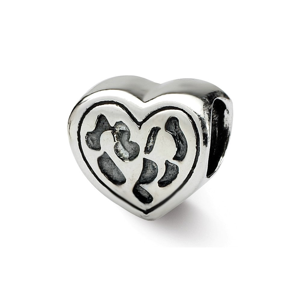 Heart in Heart Charm in Silver for 3mm Bead Bracelets, Item B8695 by The Black Bow Jewelry Co.