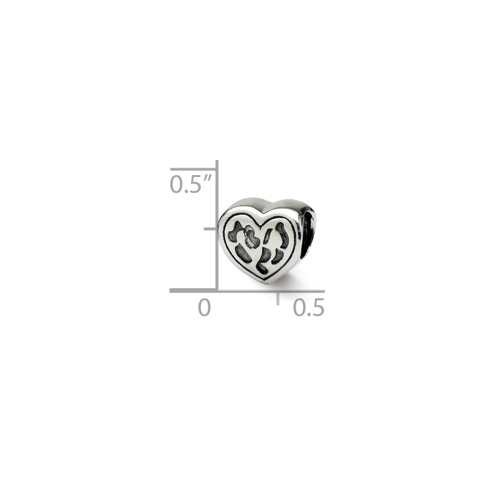 Alternate view of the Heart in Heart Charm in Silver for 3mm Bead Bracelets by The Black Bow Jewelry Co.