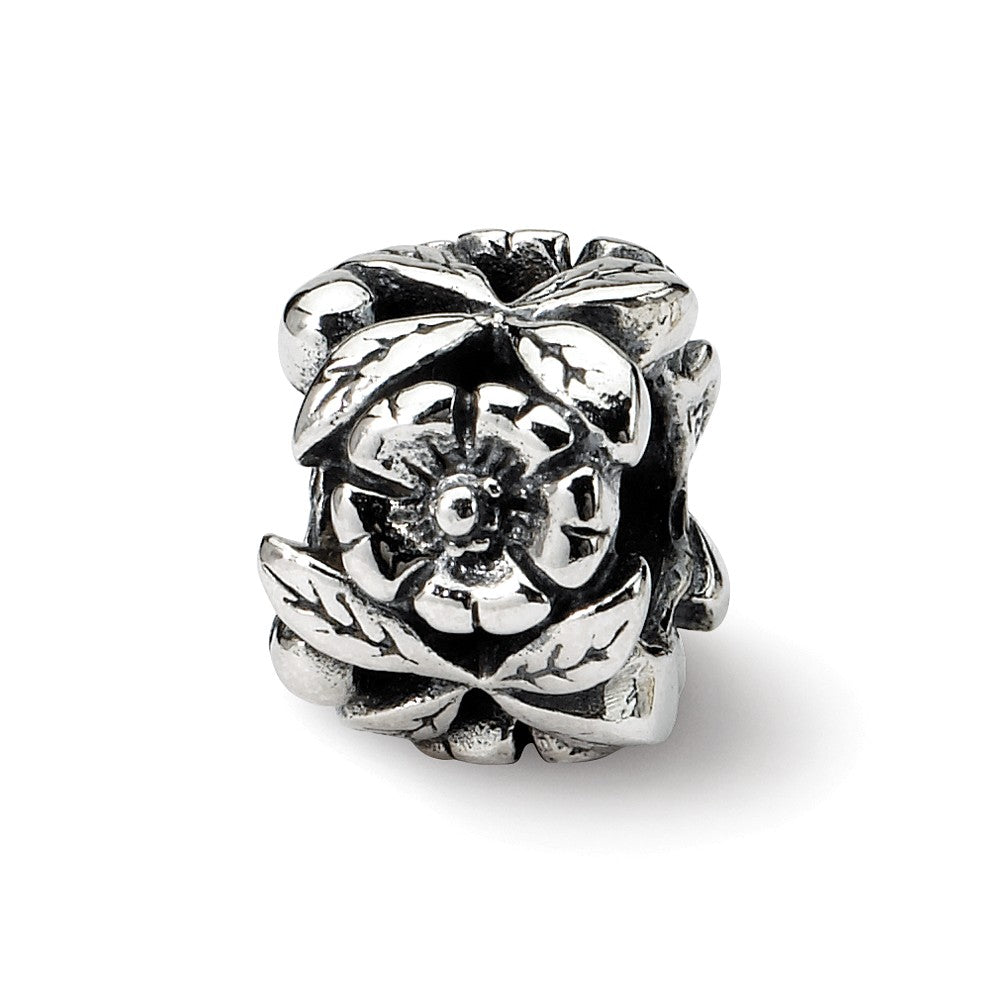 Sterling Silver Flowers Blooming Bead Charm, Item B8721 by The Black Bow Jewelry Co.