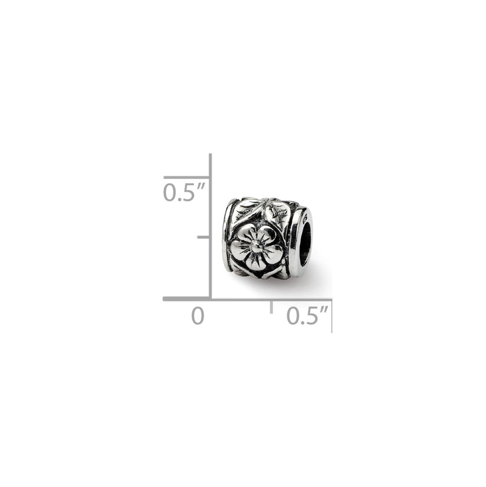 Alternate view of the Sterling Silver Flower Barrel Bead Charm by The Black Bow Jewelry Co.