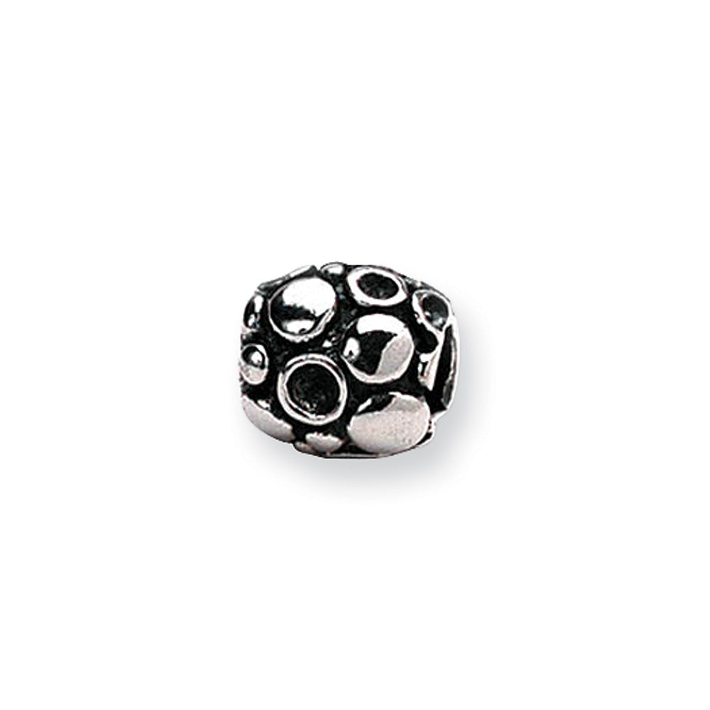 Sterling Silver Spotted Bali Bead Charm, Item B8756 by The Black Bow Jewelry Co.