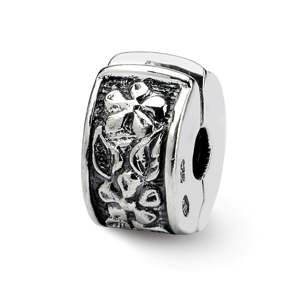 Sterling Silver Floral Hinged Clip Bead Charm, Item B8796 by The Black Bow Jewelry Co.