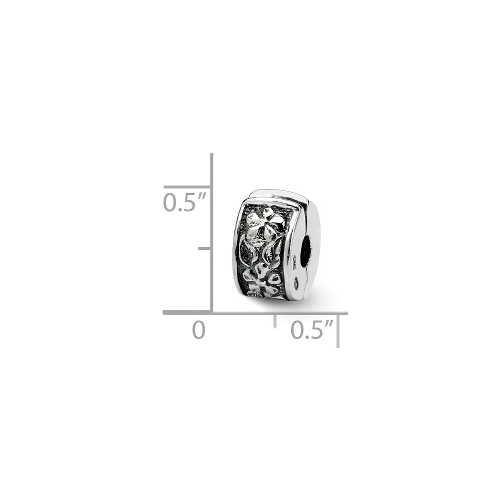 Alternate view of the Sterling Silver Floral Hinged Clip Bead Charm by The Black Bow Jewelry Co.