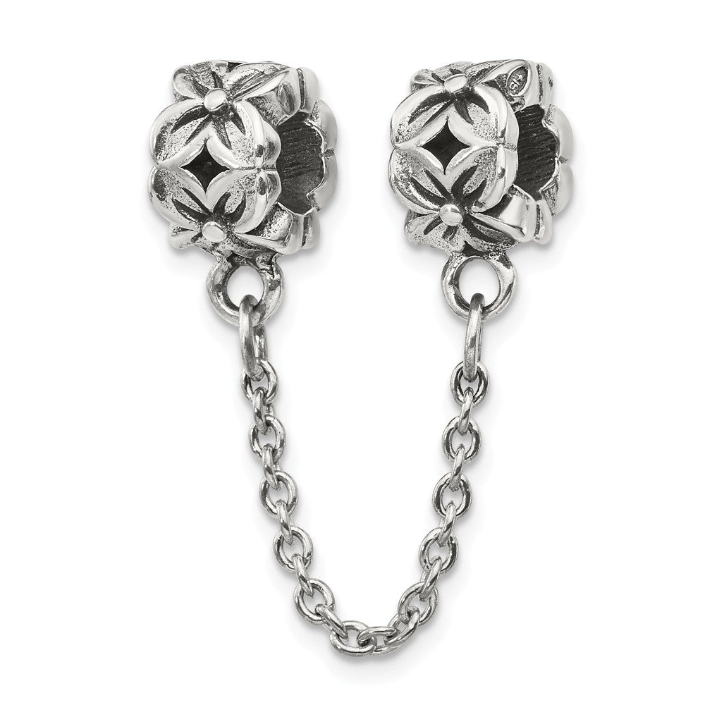 Sterling Silver Security Chain w Floral Bead Charms for 3mm Bracelets, Item B8803 by The Black Bow Jewelry Co.